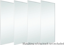 BASIC White Frame Mirror Door & Track Set To Suit An Opening Of 3607MM